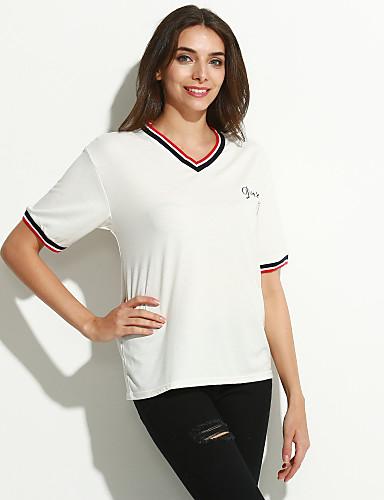 Vrouwen Eenvoudig Zomer T-shirt,Casual/Dagelijks Gestreept / Letter V-hals Korte mouw Blauw / Wit Katoen Dun