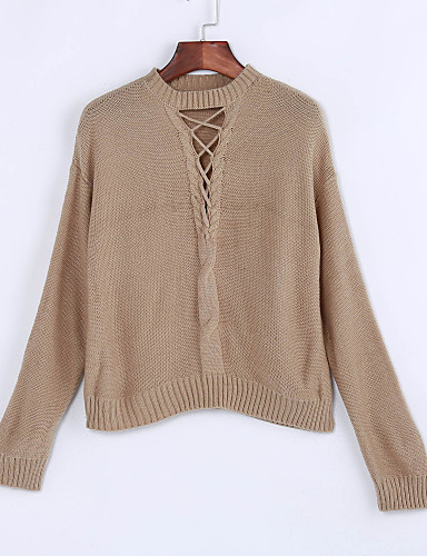 Dames Casual/Dagelijks Street chic Kort Pullover Effen-Strakke ronde hals Lange mouw Polyester Lente Winter Dun Micro-elastisch