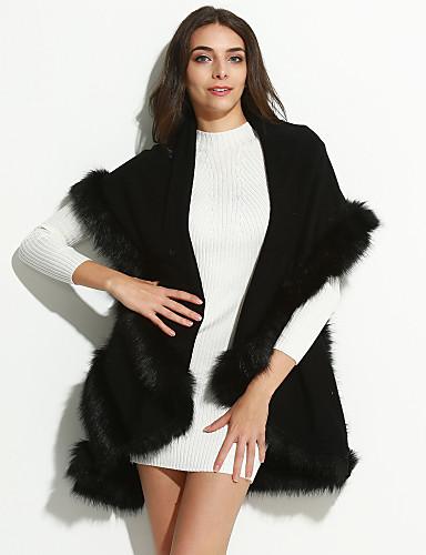 Mulheres Padrão Casaco de Pêlo Diário Elegante & Luxuoso Inverno Primavera Outono, Bordado Algodão Pele Falsa Estilo vintage