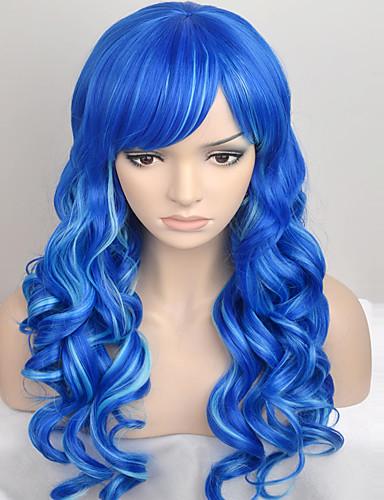 ราคาถูก Beauty & Hair-ผู้หญิง วิกผมสังเคราะห์ ไม่มีฝาครอบ ยาว นานมาก ลอนธรรมชาติ Blue วิกธรรมชาติ วิกผมเครื่องแต่งกาย