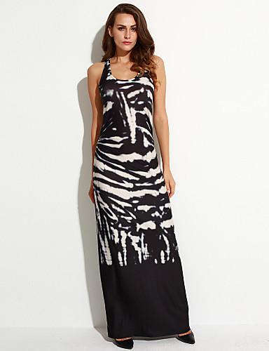 Damen Hülle Kleid-Party Sexy Druck U-Ausschnitt Maxi Ärmellos Polyester Sommer Mittlere Hüfthöhe