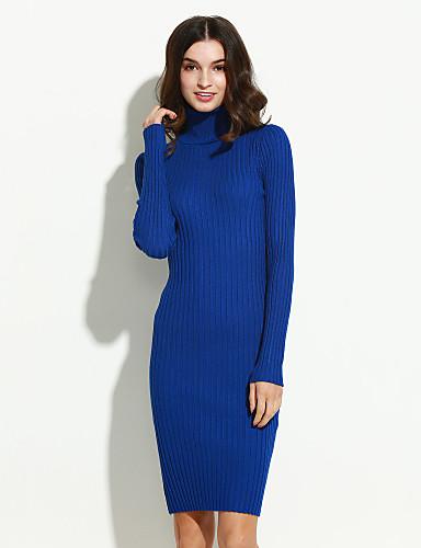 759706c620 Bodycon Ruha Női EgyszerűEgyszínű Körgallér Térd feletti Hosszú ujj Kék /  Rózsaszín / Fehér / Fekete