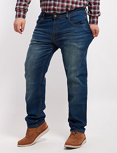 Herre Store størrelser Bomull Jeans Bukser Ensfarget