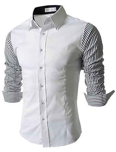 Bomull Blå / Hvit Langermet,Firkantet hals Skjorte Fargeblokk Enkel Fritid/hverdag Herre