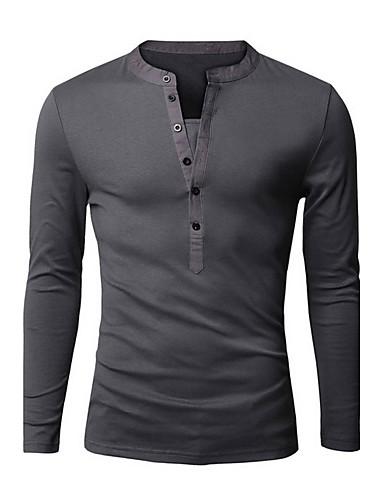 メンズ 日常 スポーツ お出かけ オールシーズン Tシャツ,活発的 Vネック ソリッド コットン 長袖 ミディアム