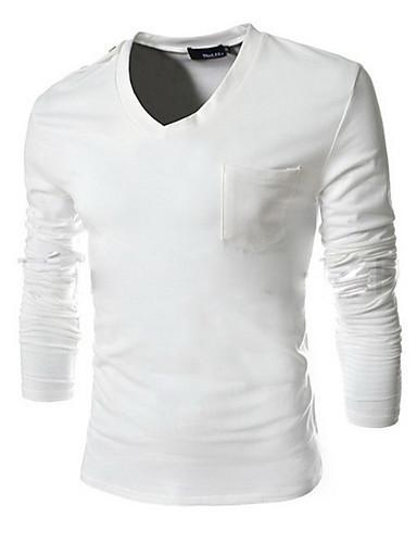 Bomull Blå / Sort Medium Langermet,V-hals T-skjorte Ensfarget Høst / Vinter Enkel Ut på byen / Fritid/hverdag Herre