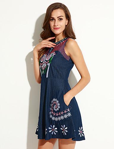 Nais- Vintage A-linja Mekko,Painettu Reisipituinen Pyöreä kaula-aukko Polyesteri
