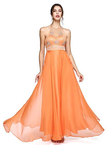 A-linje Grime Gulvlang Chiffon Skoleball / Formell kveld Kjole med Perlearbeid av TS Couture®