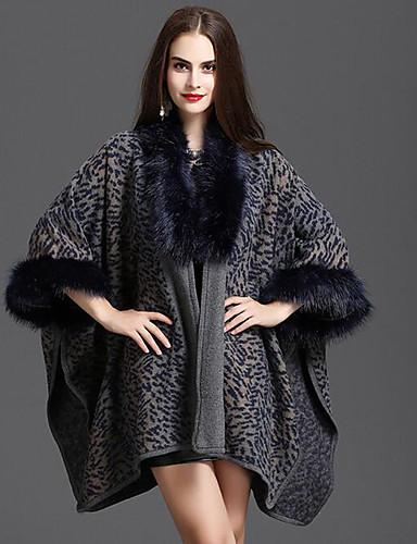 Mujer Abrigo Leopardo, Piel Sintética Algodón