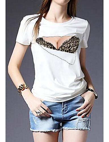 Bomull T-skjorte - Geometrisk Dame