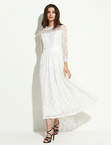 Femme Dentelle Robe Vintage,Couleur Pleine Mao Maxi Manches Longues Blanc Printemps Taille Normale Micro-élastique Moyen