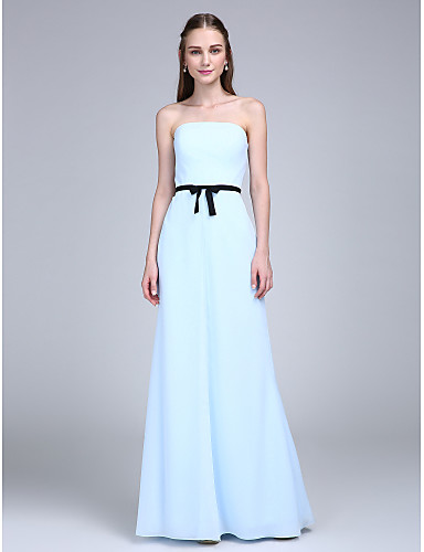 Sheath / Column Strapless Floor Length Chiffon Bridesmaid Dress with Bow(s) Sash / Ribbon by LAN TING BRIDE®