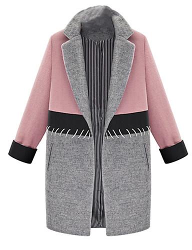 Polyester Rosa Medium Langermet,Skjortekrage Frakk Fargeblokk Enkel / Gatemote Fritid/hverdag / Plusstørrelser-Vår / Vinter Dame
