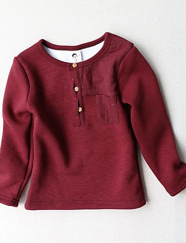 Fritid/hverdag T-skjorte Ensfarget Bomull Vinter Langermet Normal