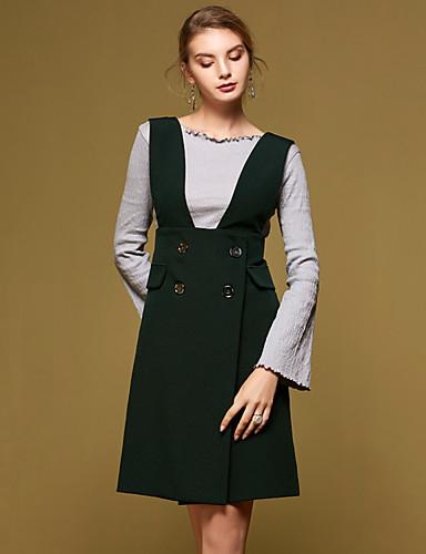 女性 お出かけ 春 Tシャツ,シンプル ラウンドネック ソリッド レッド / ブラック コットン 長袖 ミディアム