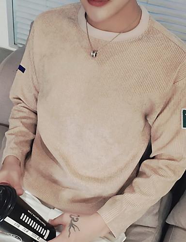 Spandex Blå / Hvit / Sort / Brun / Grå / Grønn Medium Langermet,Crew-hals T-skjorte Ensfarget Høst Enkel Ut på byen / Fritid/hverdag Herre