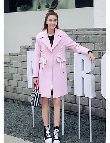 Polyester Rosa Medium Langermet,Skjortekrage Frakk Ensfarget Enkel Fritid/hverdag-Alle sesonger Dame