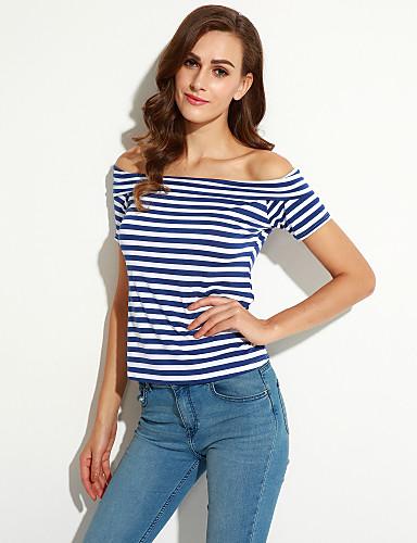 Kortærmet Bateau-hals Medium Kvinders Blå Stribet Sommer Street Casual/hverdag T-shirt,Bomuld