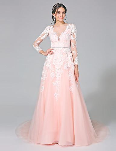 A-Linie Bateau Hals Kirchen Schleppe Tüll Hochzeitskleid mit Paillette Applikationen Schärpe / Band durch LAN TING BRIDE®