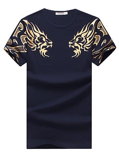 お買い得  アニマルプリント-男性用 スポーツ - プリント プラスサイズ Tシャツ ベーシック ラウンドネック 動物 コットン タイガー / 半袖