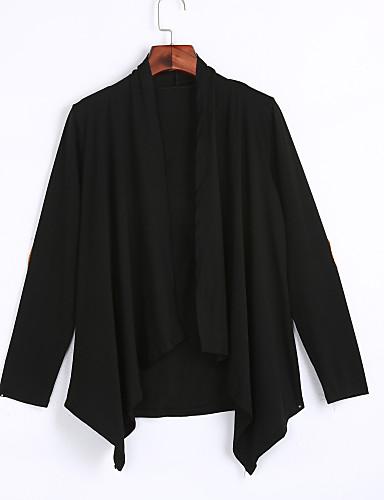 Langærmet Hængende krave Damer Lang Ensfarvet Forår Efterår Enkel Street I-byen-tøj Casual/hverdag Kimono Jakke,Polyester