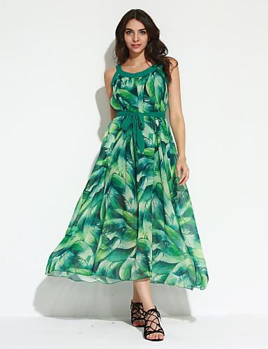 Damen Kleid-Swing Boho Druck Maxi Polyester Rundhalsausschnitt