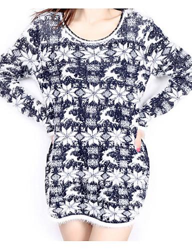 Damen Standard Pullover-Ausgehen Lässig/Alltäglich Niedlich Street Schick Geometrisch Patchwork Schwarz Rundhalsausschnitt Langarm Acryl