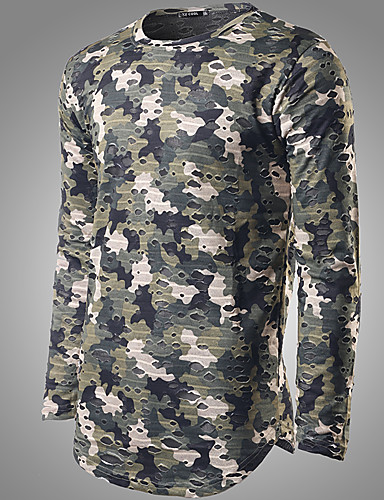 Herren Solide Einfach Lässig/Alltäglich T-shirt,Hemdkragen Herbst Langarm Mehrfarbig Baumwolle Mittel