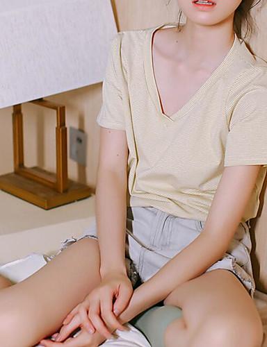 Damen Solide Einfach Lässig/Alltäglich T-shirt,V-Ausschnitt Herbst Langarm Baumwolle Mittel