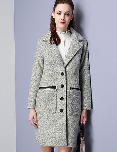 Damen Solide Einfach Lässig/Alltäglich Mantel,Winter Gekerbtes Revers Langarm Grau Wolle Polyester