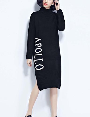 Damen Standard Pullover-Ausgehen Lässig/Alltäglich Urlaub Einfach Niedlich Street Schick Patchwork Schwarz Rollkragen LangarmBaumwolle