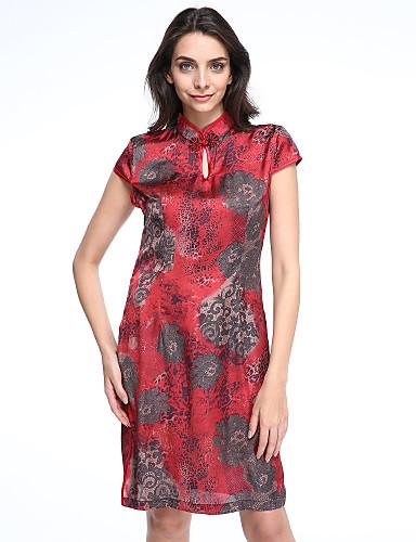 Gaine Robe Femme Sortie Grandes Tailles Vintage,Imprimé Mao Mi-long Manches Courtes Soie Eté Taille Normale Micro-élastique Moyen