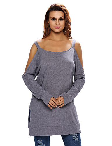 Naisten Olkaimellinen Polyesteri Spandex Avoin selkä Koverrettu T-paita, Yhtenäinen
