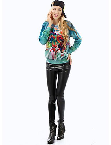 Damen Pullover Lässig/Alltäglich Druck Rundhalsausschnitt Mikro-elastisch Polyester Lange Ärmel Herbst Winter