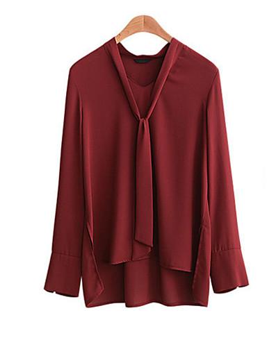 Damen Solide Sexy Retro Einfach Ausgehen Lässig/Alltäglich Hemd,V-Ausschnitt Frühling Herbst Langarm Polyester