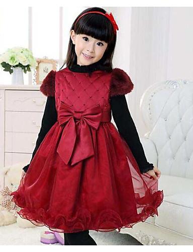 Mädchen Kleid Alltag Solide Baumwolle Winter Herbst Kurzarm Schleife Rot