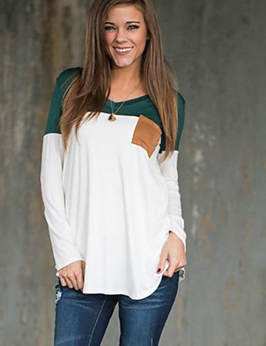 Damen Einfarbig Einfach Street Schick Lässig/Alltäglich Urlaub T-shirt,V-Ausschnitt Frühling Herbst Langarm Baumwolle Mittel