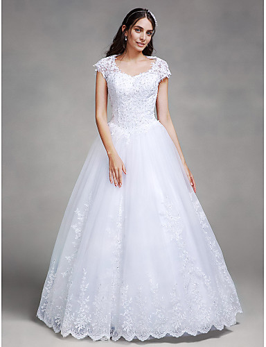 Ball Gown Queen Anne Floor Length Lace Tulle Wedding Dress with Beading Appliques by LAN TING BRIDE®