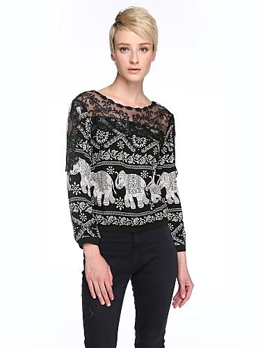 Veći konfekcijski brojevi Majica s rukavima Žene Kolaž Čipka Pamuk