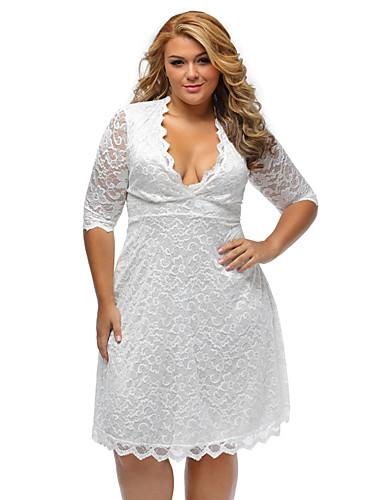 Damen Übergrössen Hülle Kleid - Spitze, Solide V-Ausschnitt Hohe Hüfthöhe