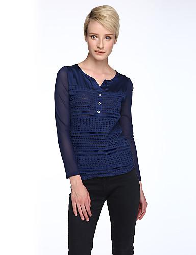 V-hals Dame - Patchwork, Net Plusstørrelser Bluse Polyester