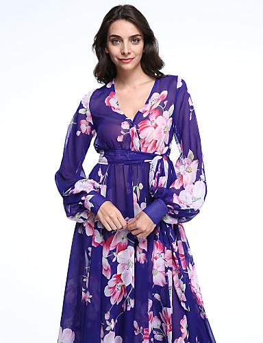 V עמוק מידי תחרה, פרחוני - שמלה סווינג שרוול פנס מידות גדולות בוהו בגדי ריקוד נשים
