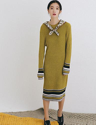 Damen Hülle Kleid-Urlaub Ausgehen Lässig/Alltäglich Retro Einfach Solide Rundhalsausschnitt Midi Langarm Schwarz Grün Baumwolle Herbst