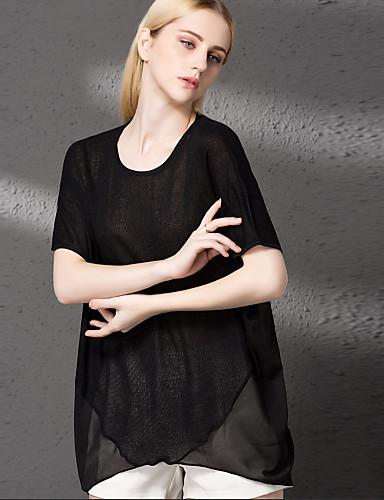 Damen Solide Einfach Lässig/Alltäglich T-shirt,Rundhalsausschnitt Herbst Kurzarm Polyester