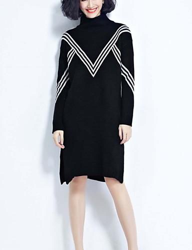 Damen Standard Pullover-Ausgehen Lässig/Alltäglich Urlaub Einfach Niedlich Street Schick Gestreift Schwarz Rollkragen LangarmBaumwolle