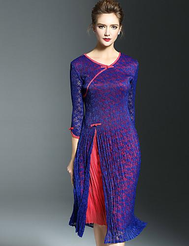 Damen Hülle Kleid-Lässig/Alltäglich Einfach Einfarbig Rundhalsausschnitt Midi Polyester Herbst Mittlere Hüfthöhe Dehnbar Mittel