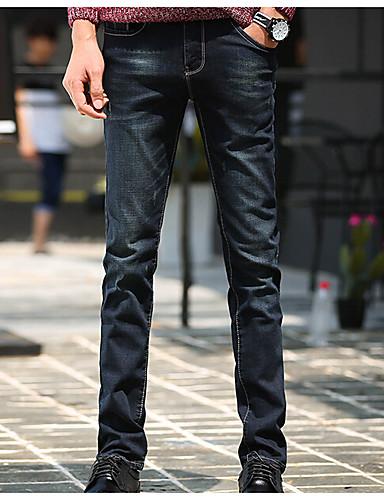 Herren Einfach Mittlere Hüfthöhe Mikro-elastisch Jeans Skinny Hose einfarbig