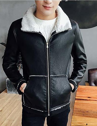 男性 カジュアル/普段着 秋 冬 ソリッド レザージャケット,シンプル シャツカラー ブラック グレイ ポリウレタン 長袖 ミディアム