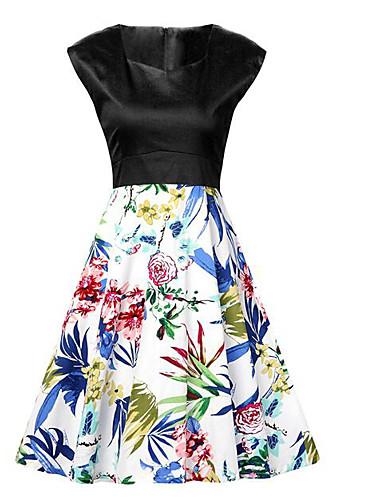 女性用 シース ドレス 水玉 フラワー 幾何学模様 スクエアネック