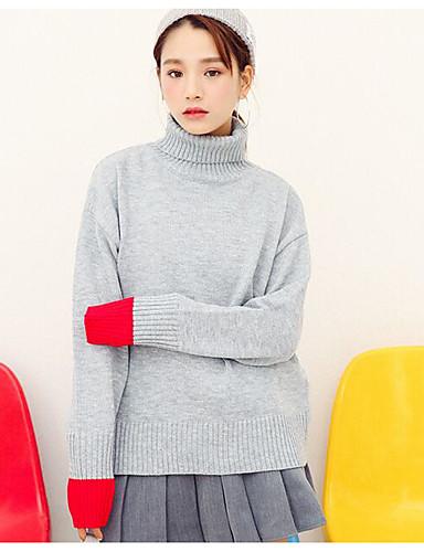 Damen Standard Pullover-Ausgehen Lässig/Alltäglich Retro Street Schick Anspruchsvoll Solide Rollkragen Ärmellos Kunst-Pelz Baumwolle